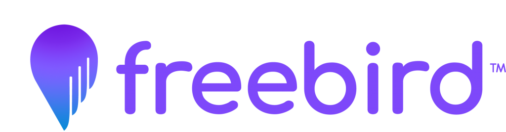 Freebird Logo: Map location pin styled like a wing next to the word freebird